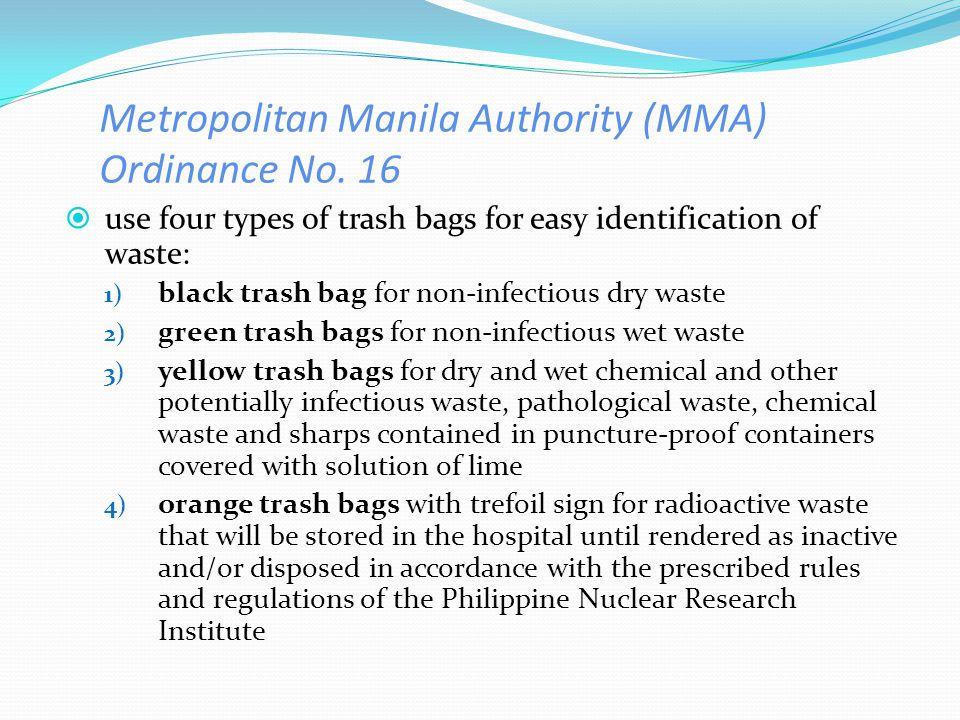 Metropolitan Manila Authority (MMA) Ordinance No. 16
