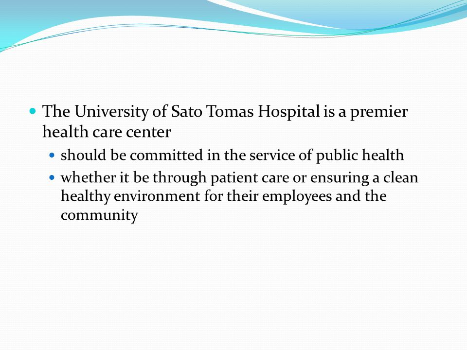 The University of Sato Tomas Hospital is a premier health care center