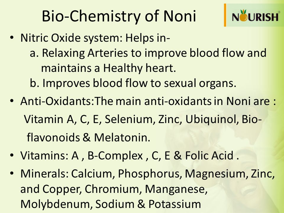 Bio-Chemistry of Noni Nitric Oxide system: Helps in-