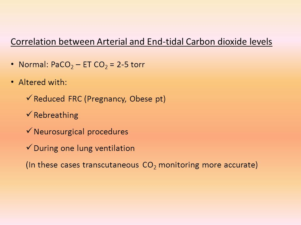 Correlation between Arterial and End-tidal Carbon dioxide levels