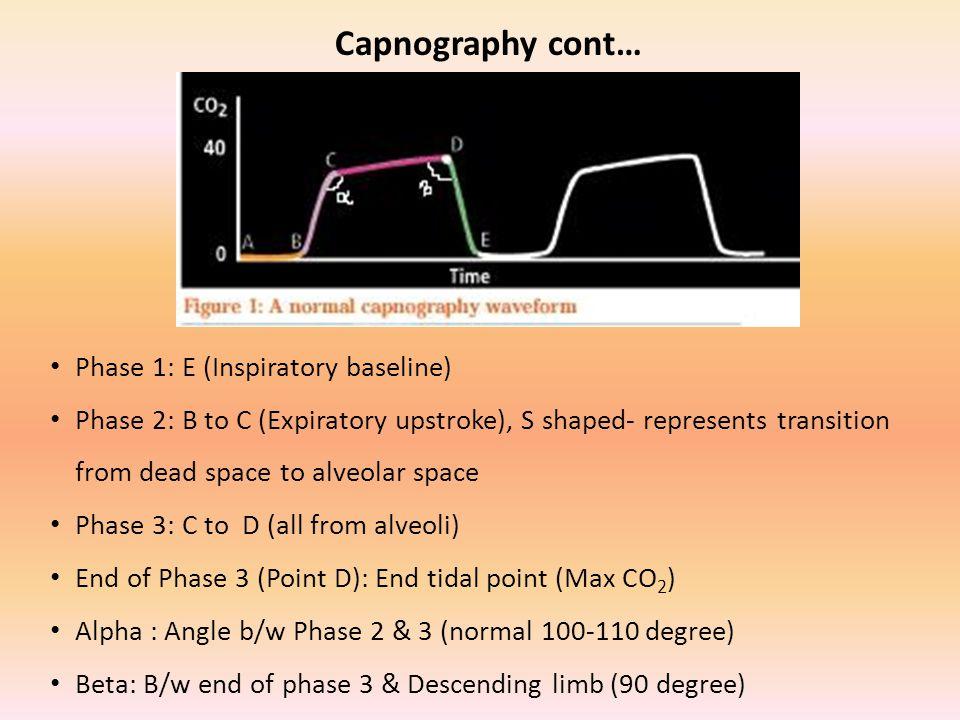 Capnography cont… Phase 1: E (Inspiratory baseline)