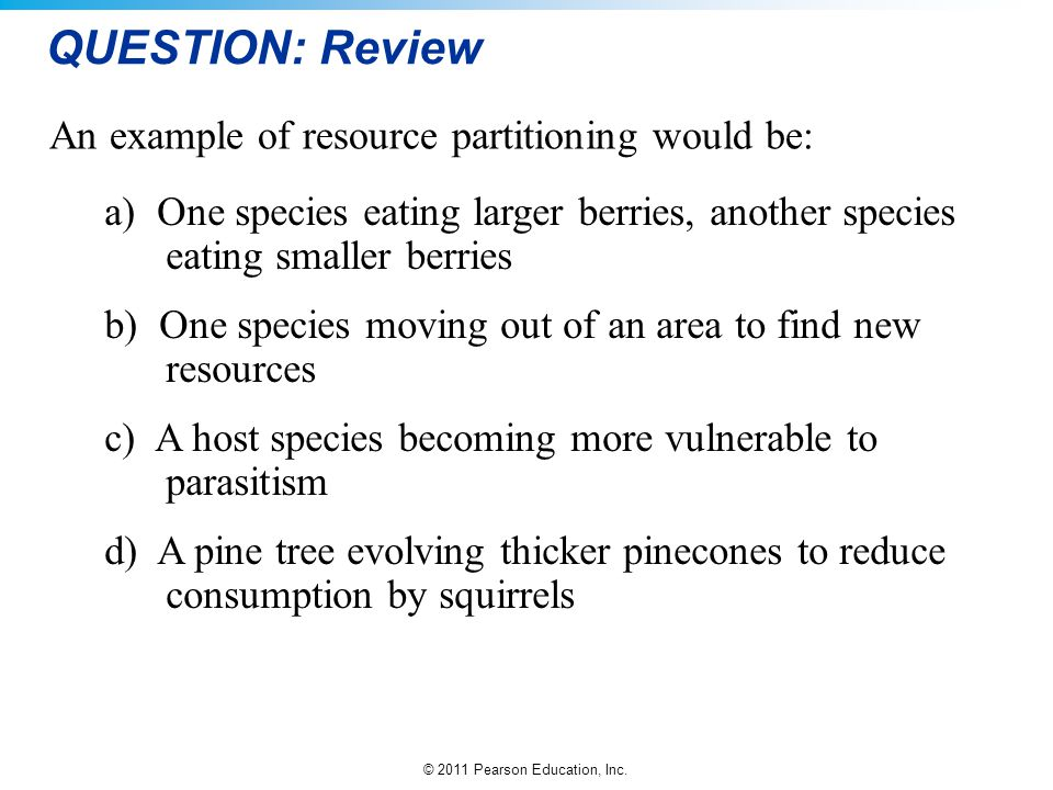 QUESTION: Review An example of resource partitioning would be: