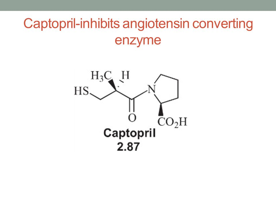 Captopril-inhibits angiotensin converting enzyme