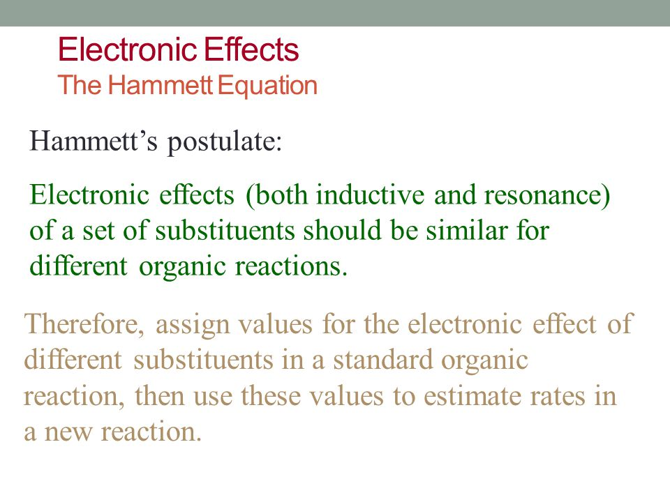 Electronic Effects The Hammett Equation