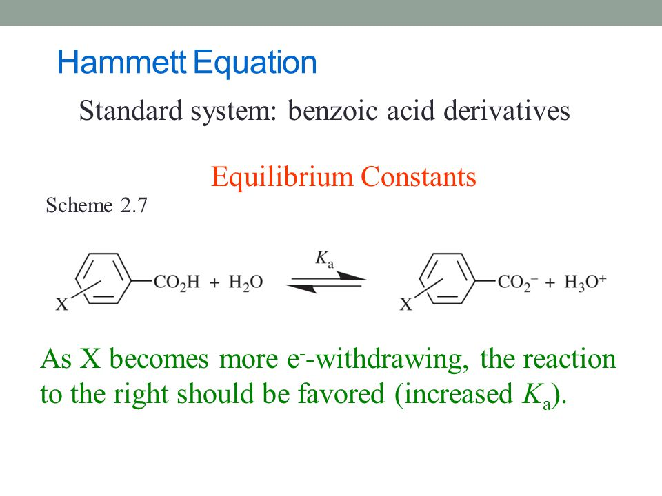 Hammett Equation Standard system: benzoic acid derivatives