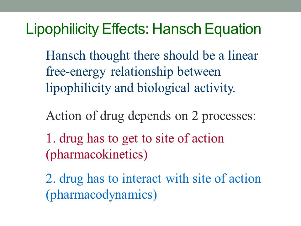 Lipophilicity Effects: Hansch Equation