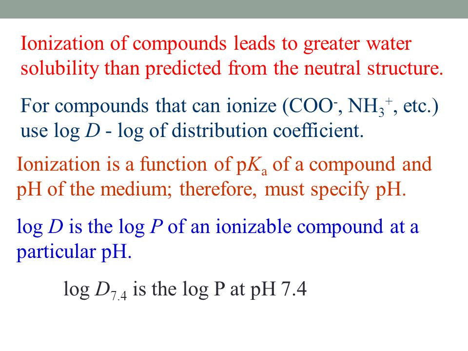 Ionization of compounds leads to greater water solubility than predicted from the neutral structure.