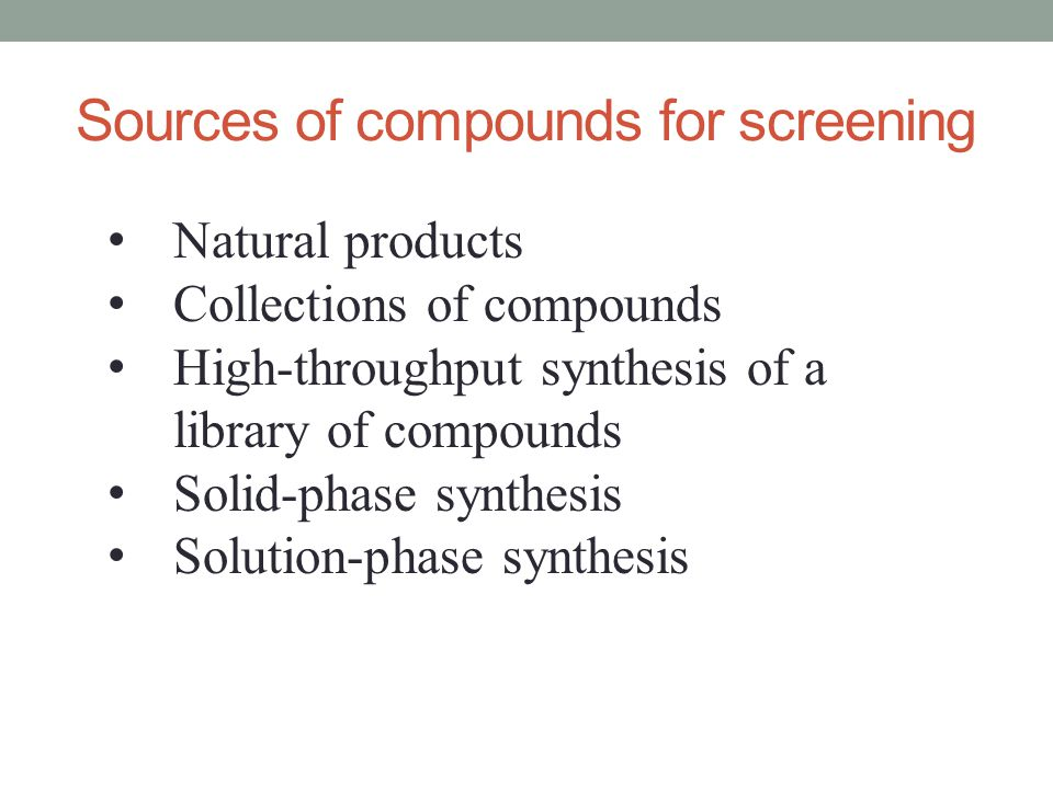Sources of compounds for screening