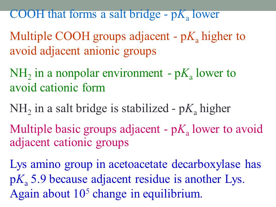 COOH that forms a salt bridge - pKa lower