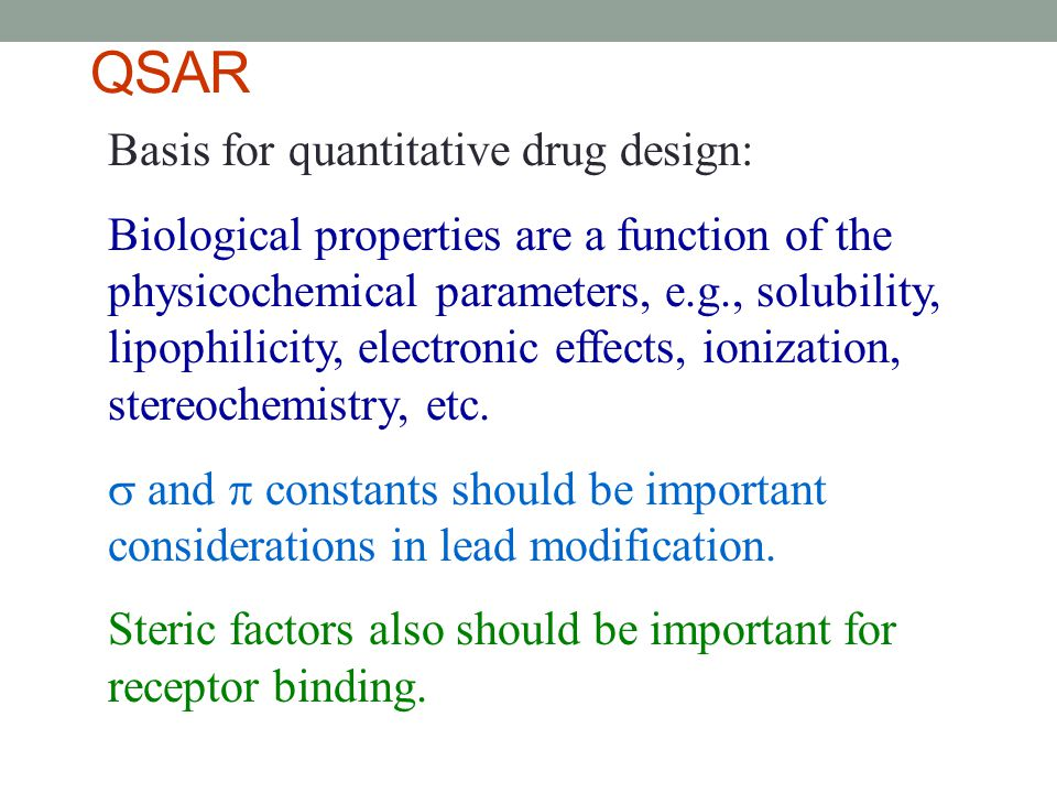 QSAR Basis for quantitative drug design: