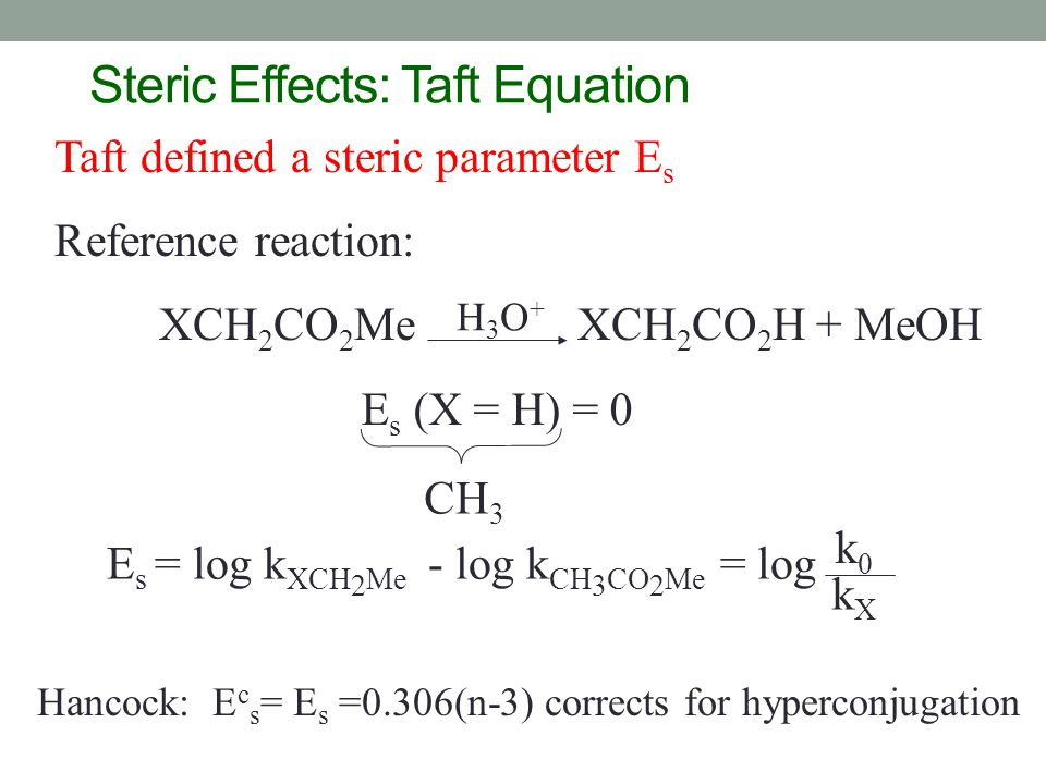 Steric Effects: Taft Equation