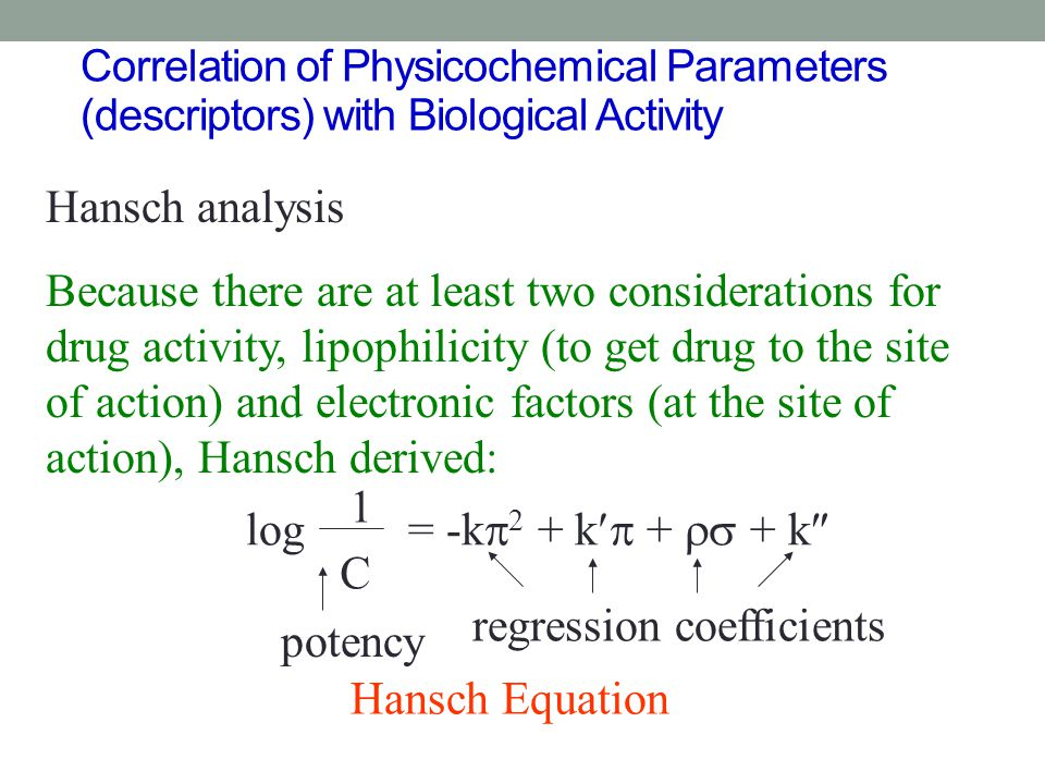 regression coefficients potency Hansch Equation