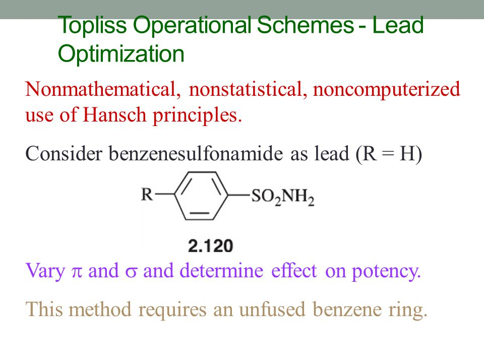 Topliss Operational Schemes - Lead Optimization