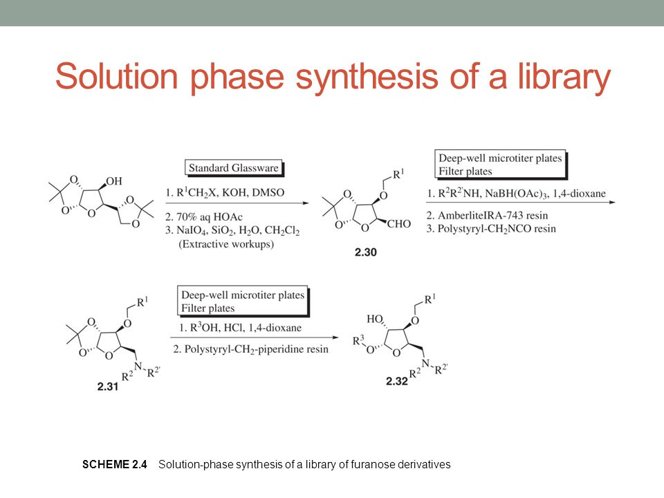 Solution phase synthesis of a library