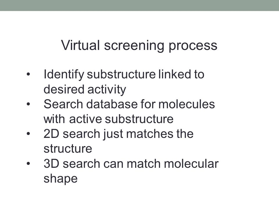 Virtual screening process