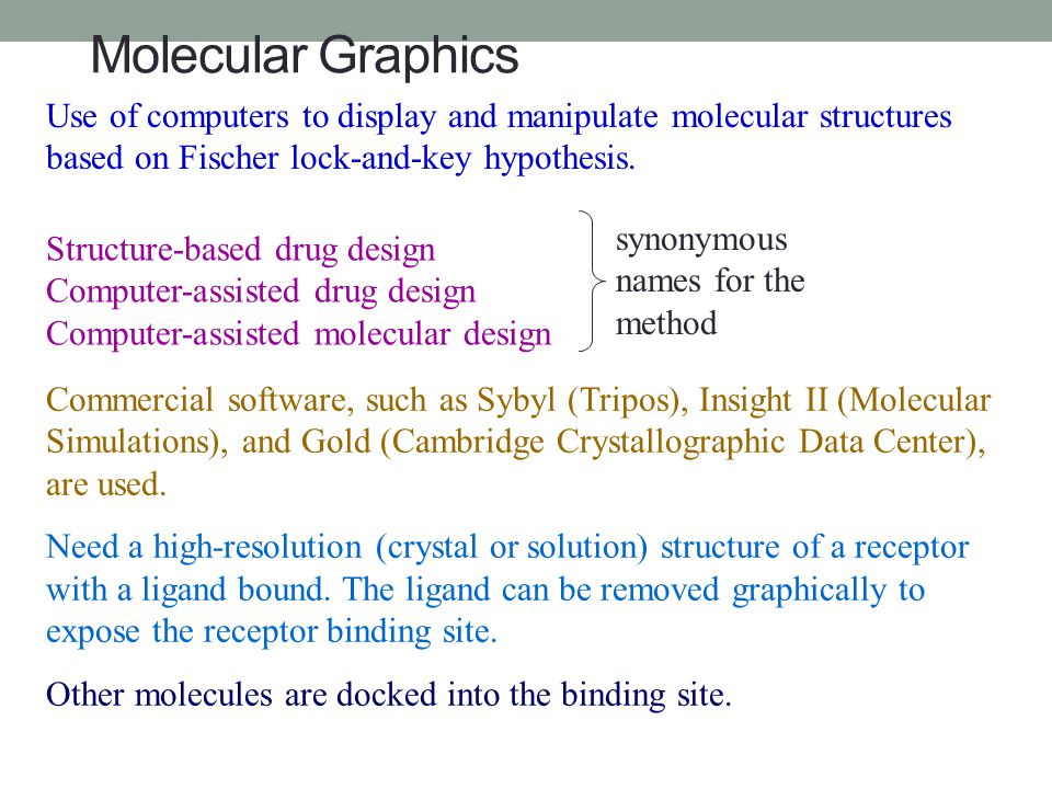 Molecular Graphics Use of computers to display and manipulate molecular structures based on Fischer lock-and-key hypothesis.