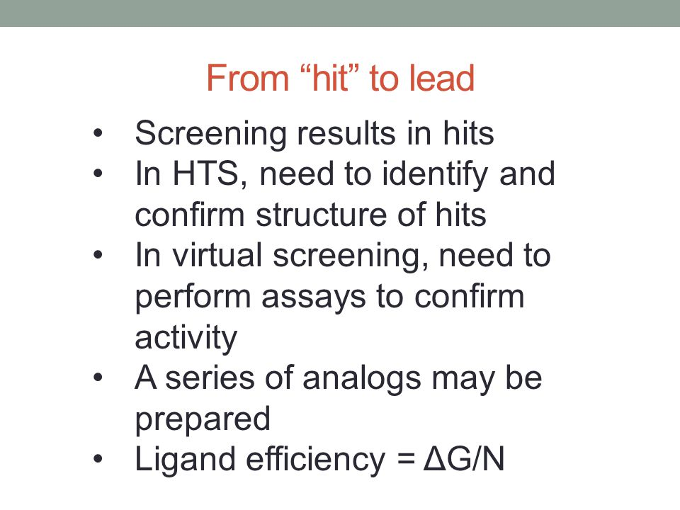 From hit to lead Screening results in hits