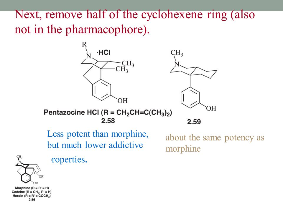 Next, remove half of the cyclohexene ring (also not in the pharmacophore).