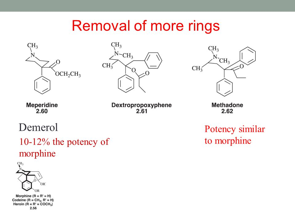 Removal of more rings Demerol Potency similar to morphine