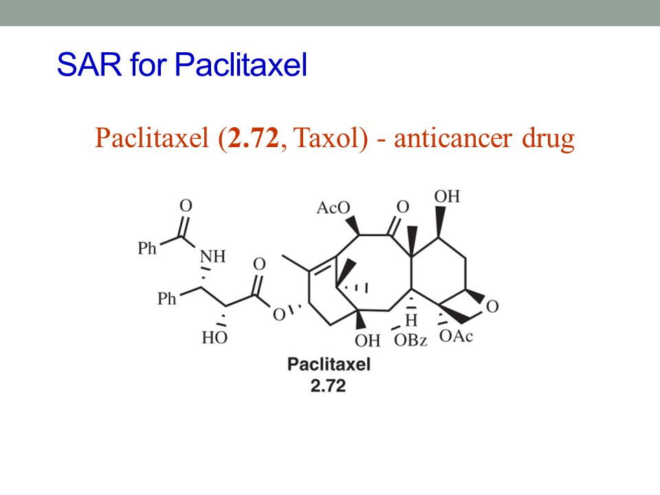 SAR for Paclitaxel Paclitaxel (2.72, Taxol) - anticancer drug