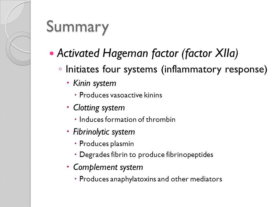 Summary Activated Hageman factor (factor XIIa)