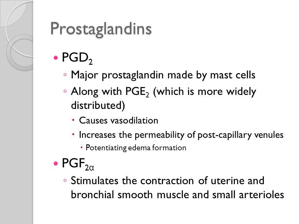 Prostaglandins PGD2 PGF2α Major prostaglandin made by mast cells