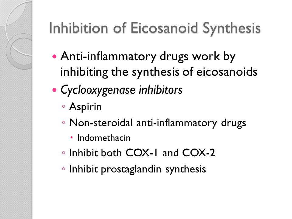 Inhibition of Eicosanoid Synthesis