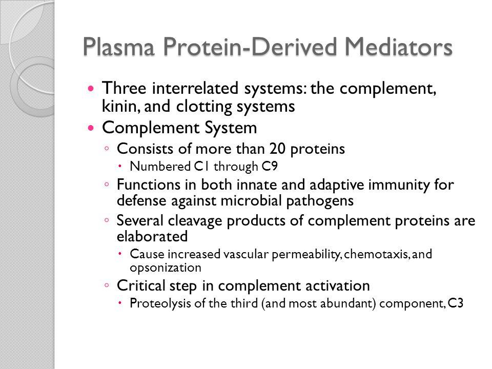 Plasma Protein-Derived Mediators
