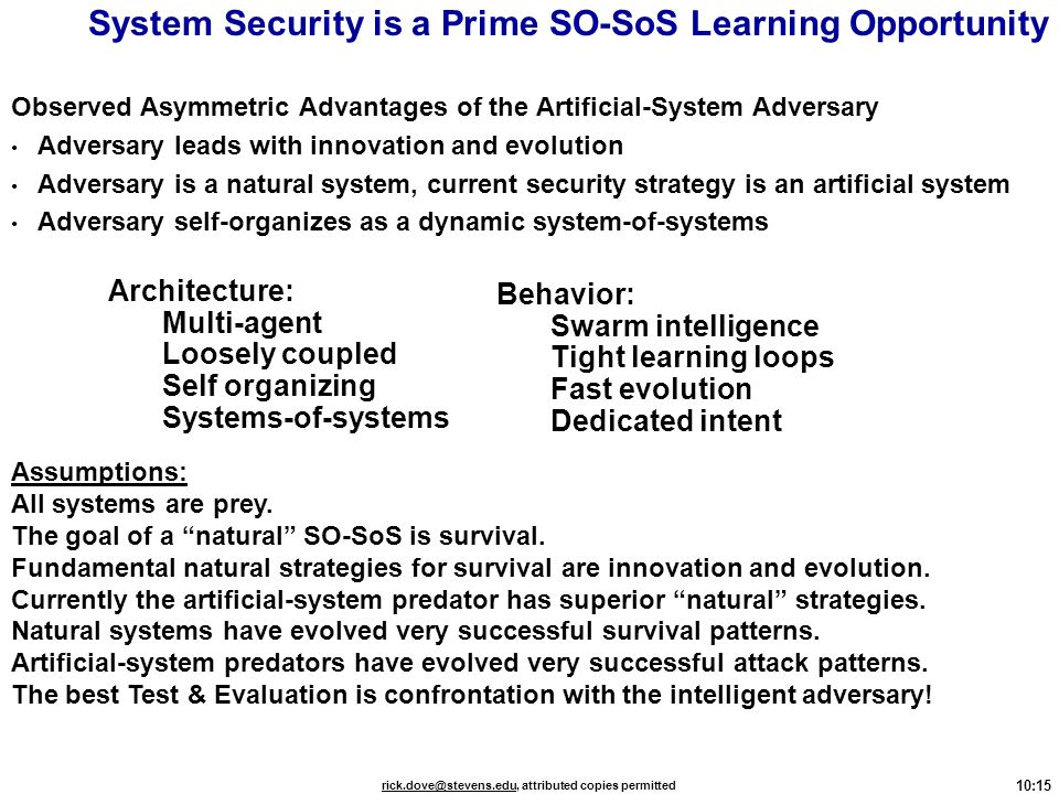 System Security is a Prime SO-SoS Learning Opportunity