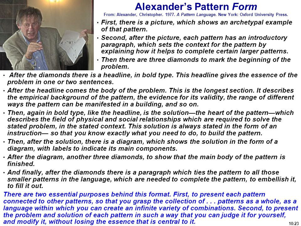 Alexander's Pattern Form From: Alexander, Christopher. 1977