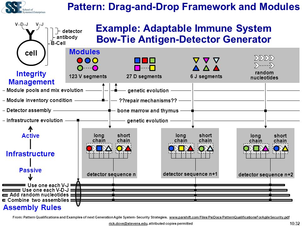 Pattern: Drag-and-Drop Framework and Modules Example: Adaptable Immune System Bow-Tie Antigen-Detector Generator