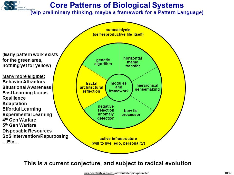 Core Patterns of Biological Systems (wip preliminary thinking, maybe a framework for a Pattern Language)