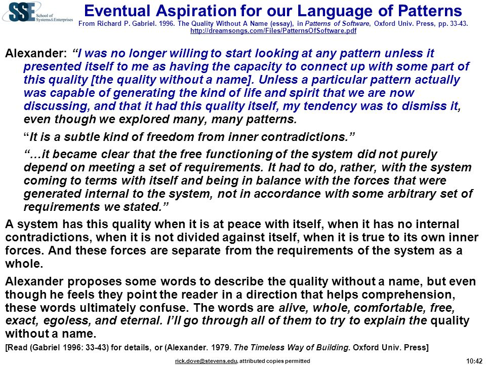Eventual Aspiration for our Language of Patterns From Richard P