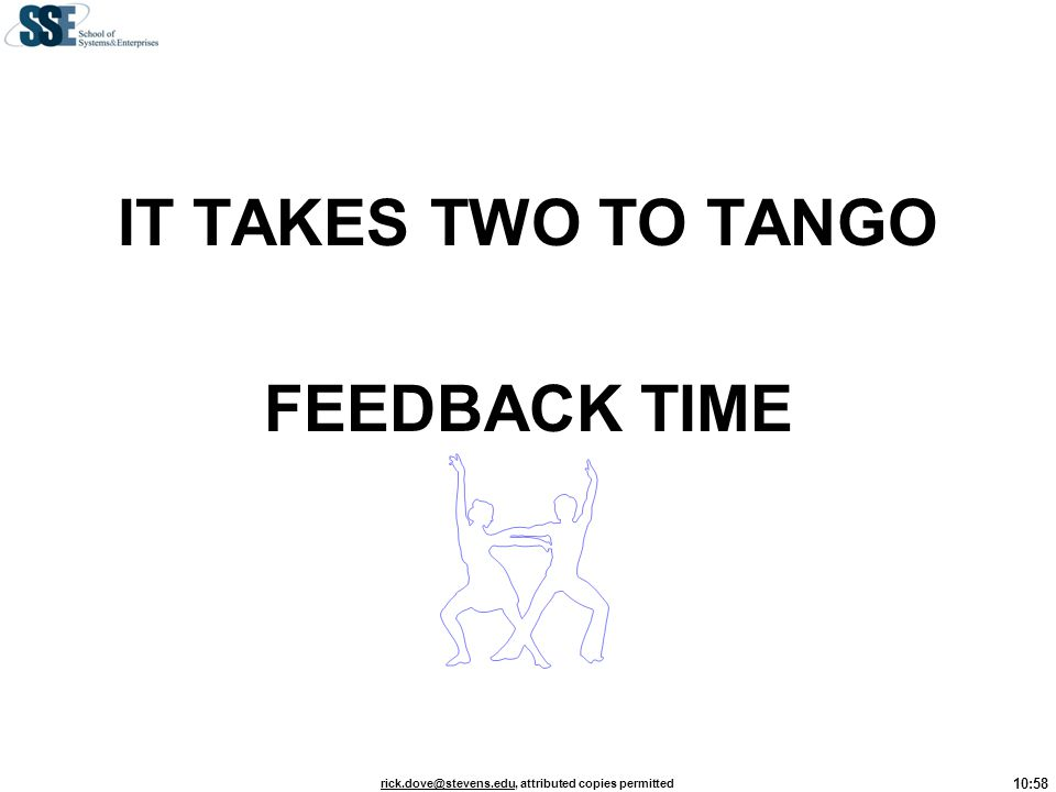 IT TAKES TWO TO TANGO FEEDBACK TIME
