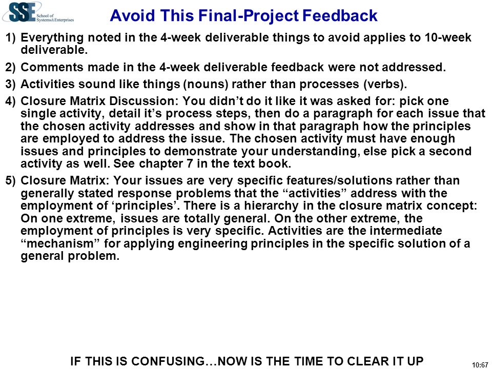Avoid This Final-Project Feedback