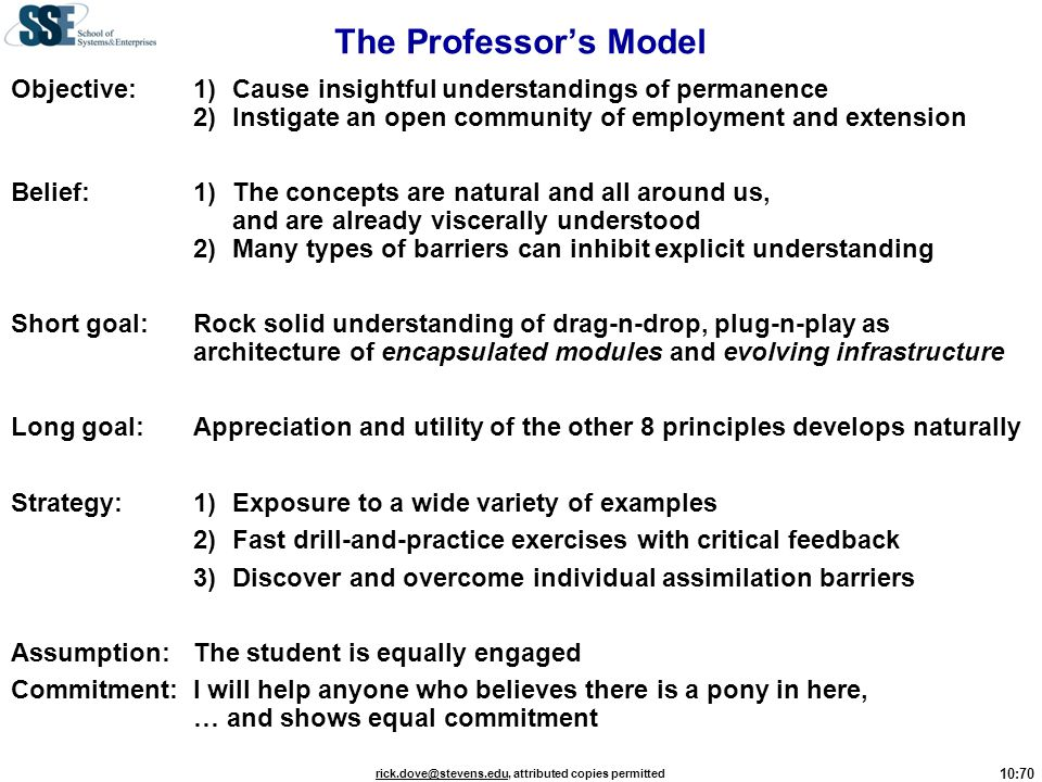 The Professor's Model Objective: 1) Cause insightful understandings of permanence 2) Instigate an open community of employment and extension.