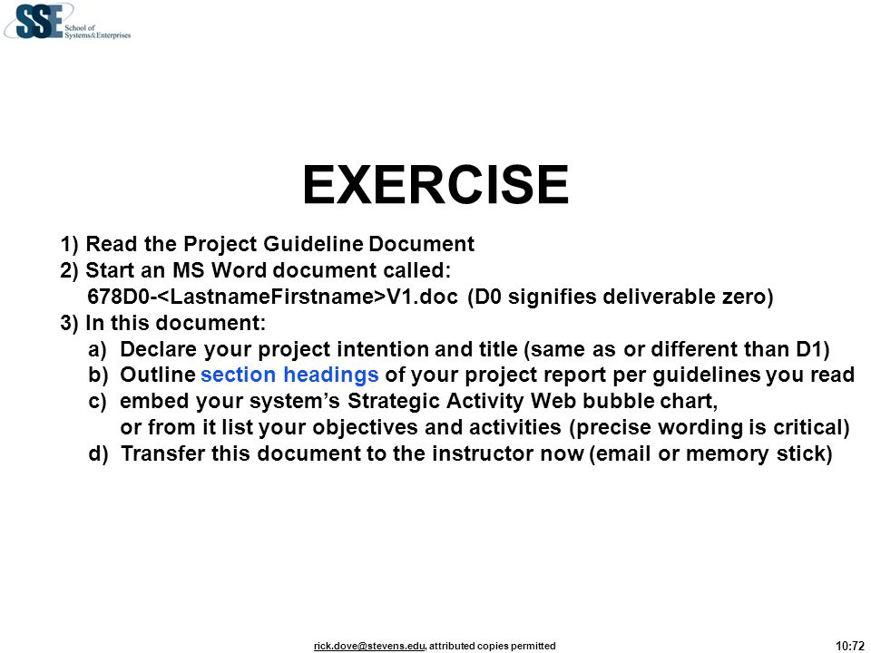 EXERCISE 1) Read the Project Guideline Document