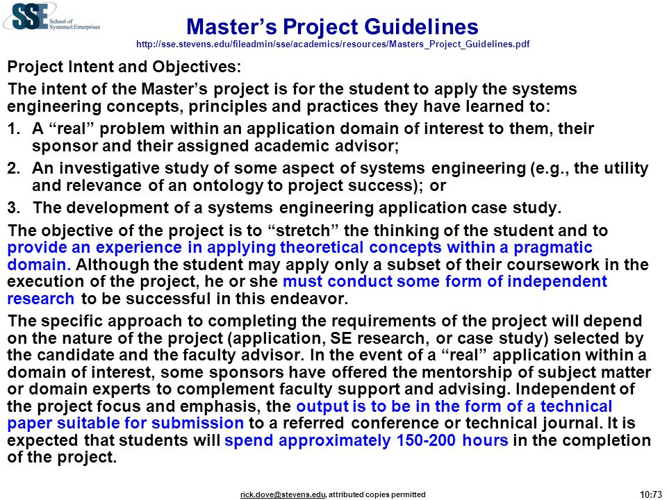 Master's Project Guidelines   stevens