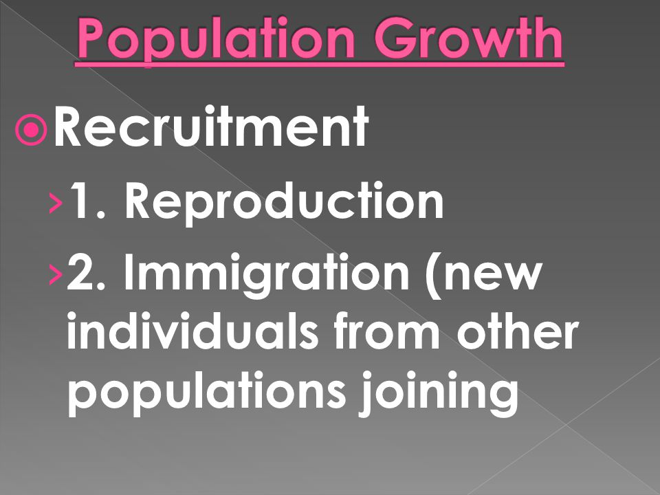 Population Growth Recruitment 1. Reproduction