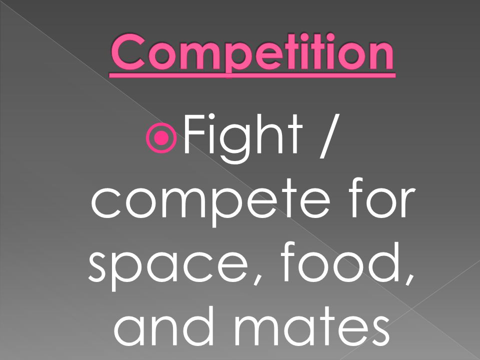 Fight / compete for space, food, and mates
