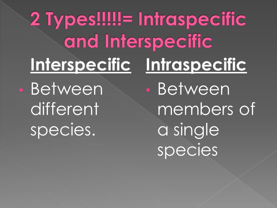 2 Types!!!!!= Intraspecific and Interspecific