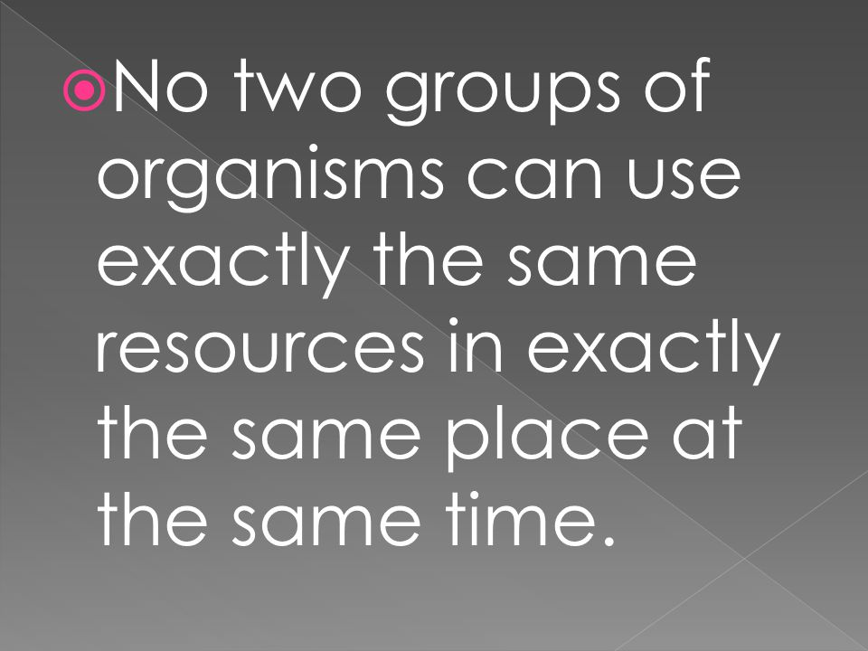 No two groups of organisms can use exactly the same resources in exactly the same place at the same time.