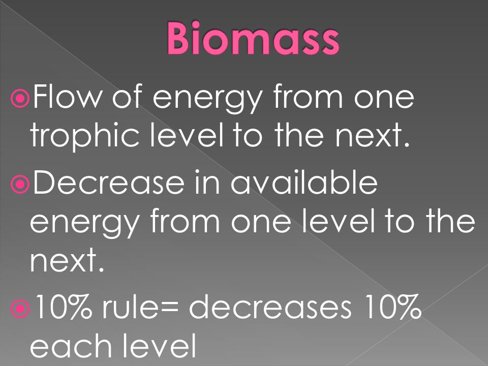 Biomass Flow of energy from one trophic level to the next.
