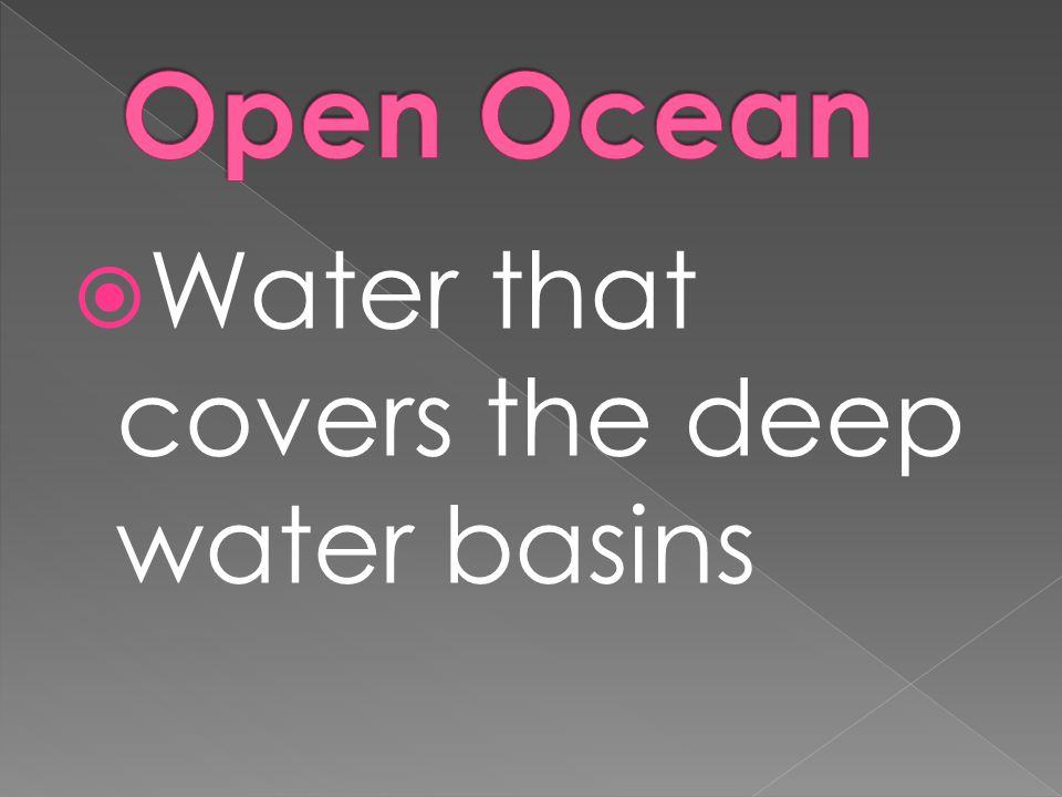 Open Ocean Water that covers the deep water basins