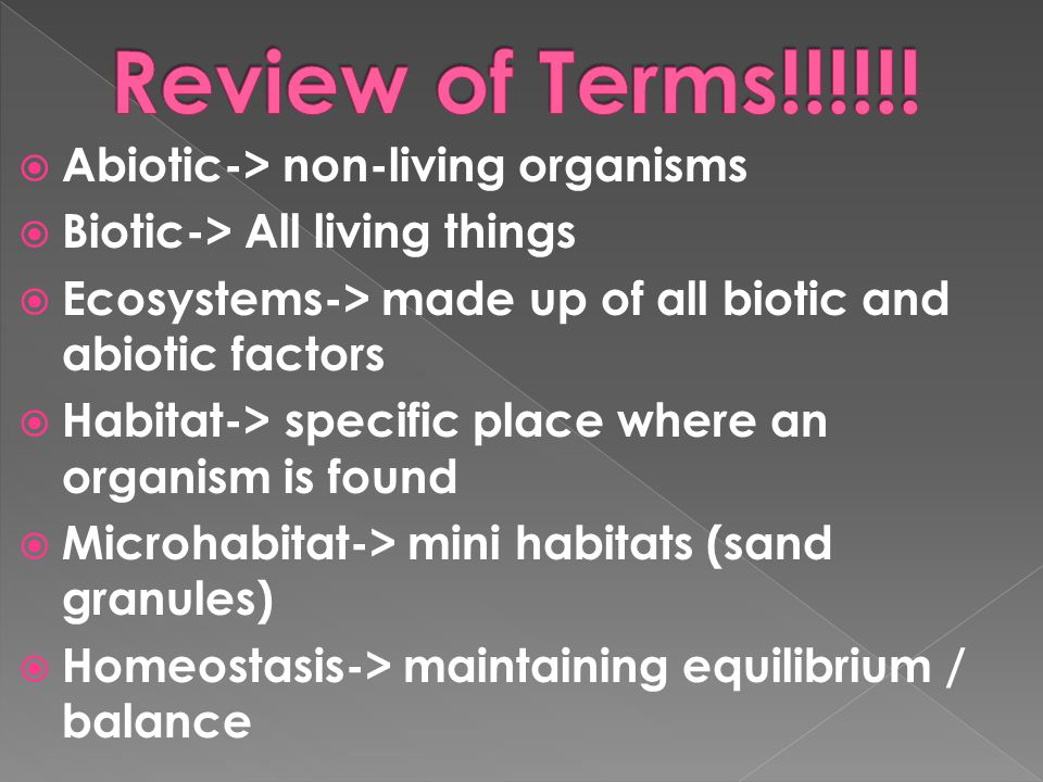 Review of Terms!!!!!! Abiotic-> non-living organisms