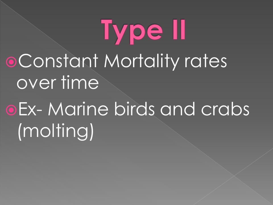 Type II Constant Mortality rates over time