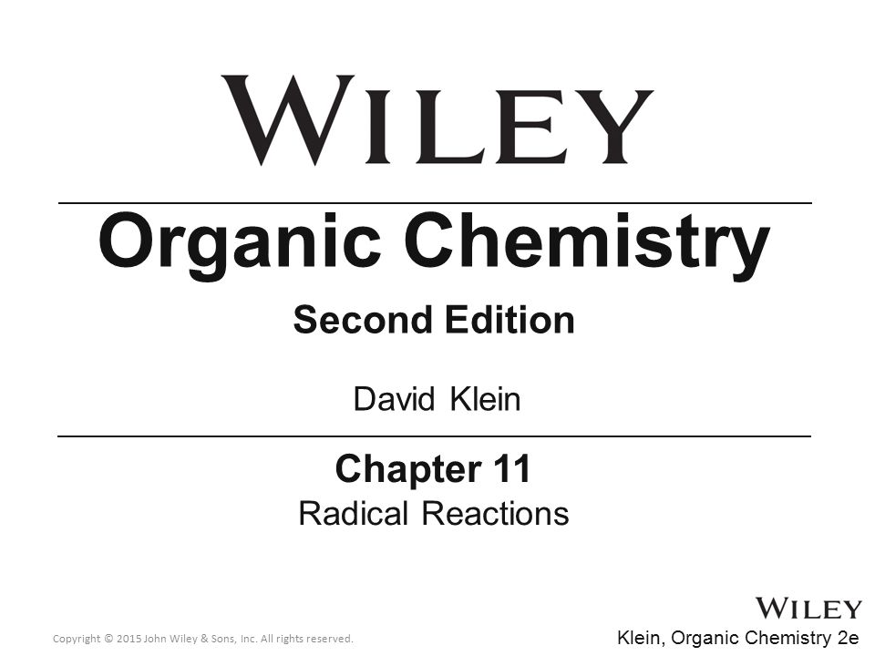 Organic Chemistry Second Edition Chapter 11 David Klein