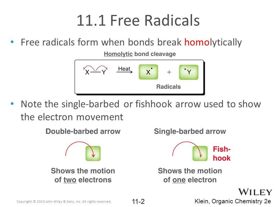 11.1 Free Radicals Free radicals form when bonds break homolytically