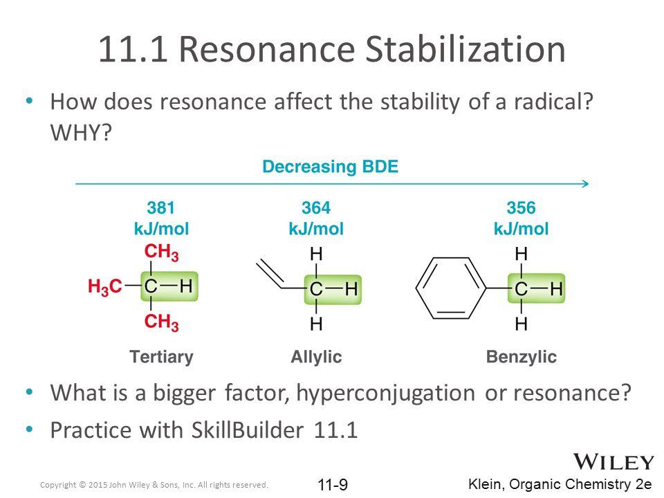 11.1 Resonance Stabilization