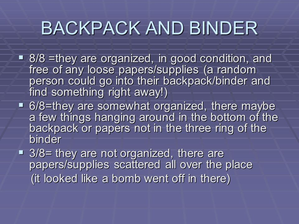 BACKPACK AND BINDER